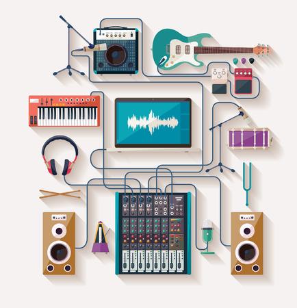 Illustration pour Music creation. Flat design. - image libre de droit