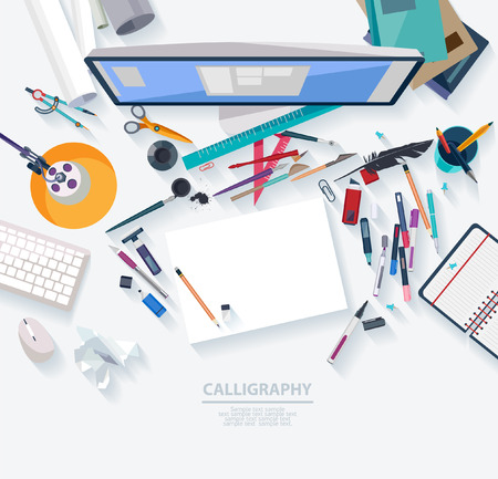 Illustration pour Calligraphy - Workplace concept. Flat design. - image libre de droit