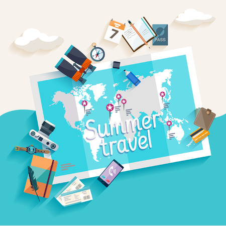 Illustration pour Summer travel. Flat design. - image libre de droit