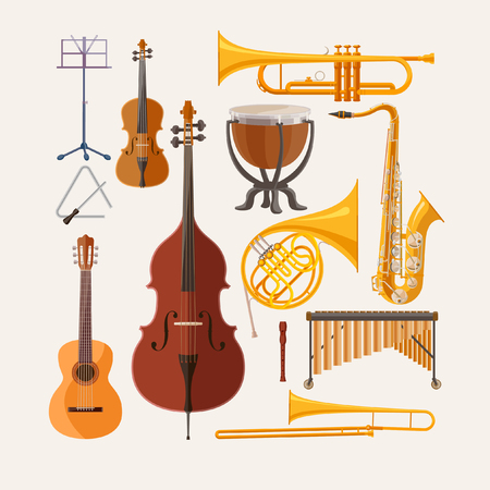 Illustration for Music instruments. Flat design. - Royalty Free Image