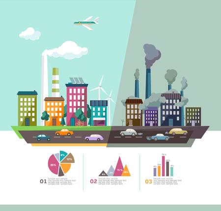 Illustration pour Environment of the modern city. Flat design. - image libre de droit