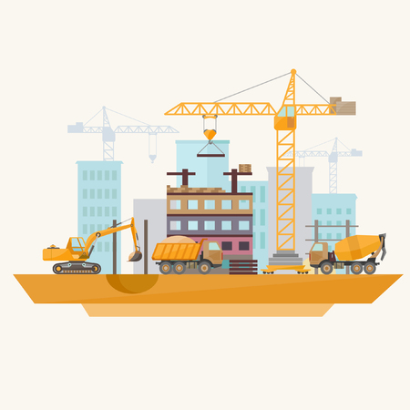 Foto per Construction of modern buildings. Flat design. - Immagine Royalty Free