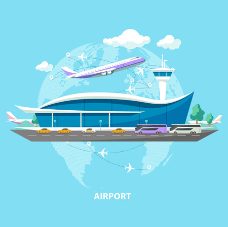 International airport. Flat design.