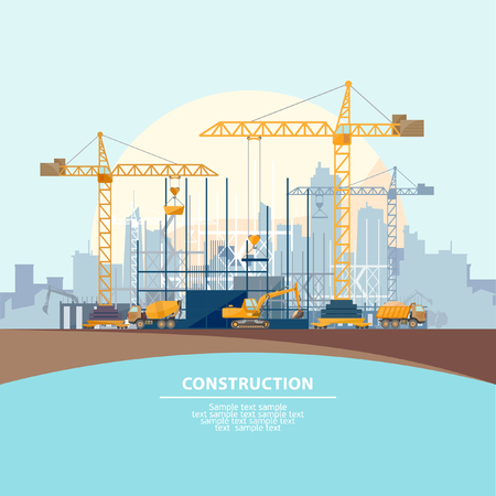 Illustration pour Construction of modern buildings. Flat design. - image libre de droit