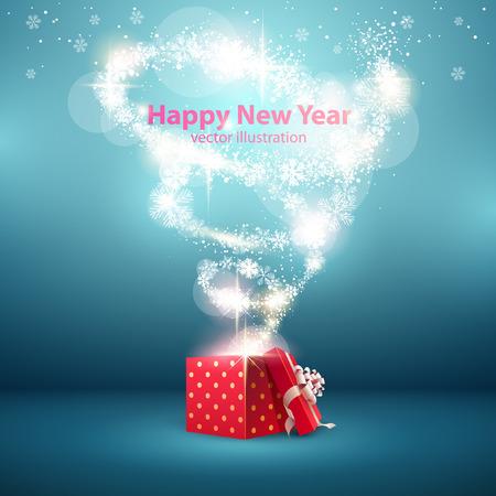 Illustration pour Christmas background with open gift box. - image libre de droit