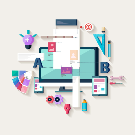 Illustration pour Web design, creating website. Flat design. - image libre de droit