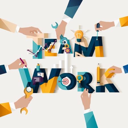 Illustration pour Teamwork concept. Typographic poster. - image libre de droit