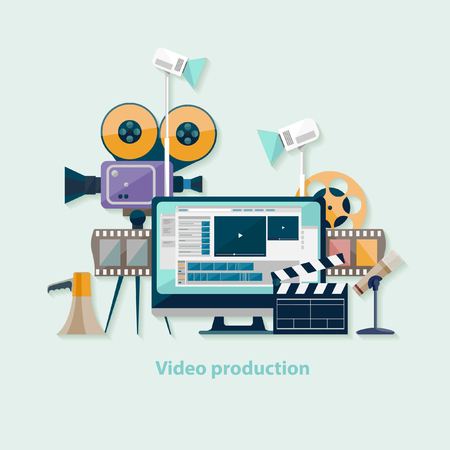 Illustration for Video production. Flat design. - Royalty Free Image