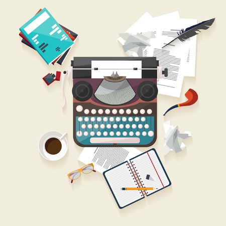 Illustration for Workplace writer. Flat design. - Royalty Free Image