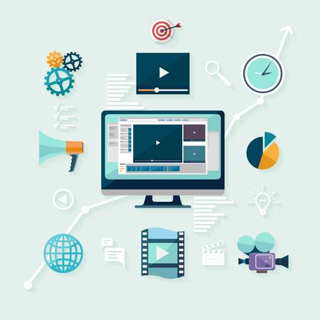 Illustration pour Digital marketing. Flat design. - image libre de droit