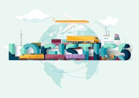 Ilustración de logistics concept. Typographic poster. - Imagen libre de derechos