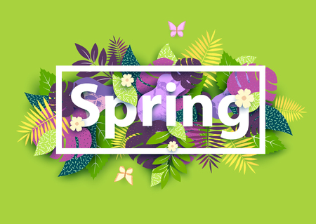 Illustration for Floral spring background with white text - Royalty Free Image