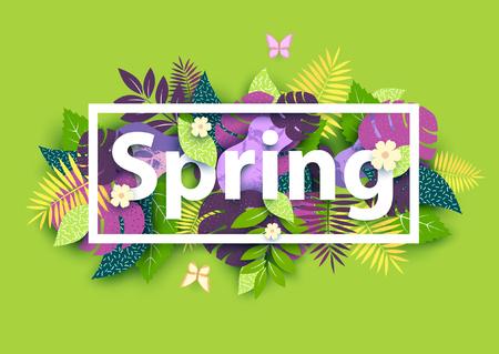 Illustration pour Floral spring background with white text - image libre de droit