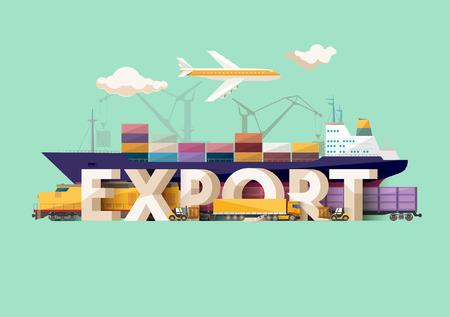 Illustration pour Export concept. Typographic poster. - image libre de droit