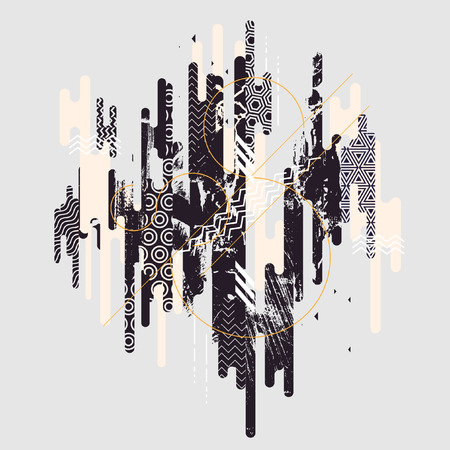 Ilustración de Abstract black and white geometric background - Imagen libre de derechos