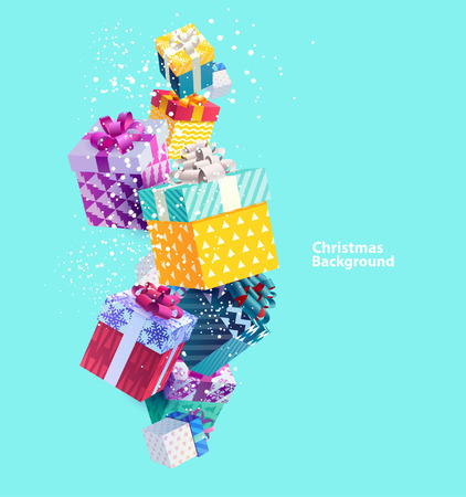 Illustration for Christmas colorful gifts. Realistic vector design - Royalty Free Image
