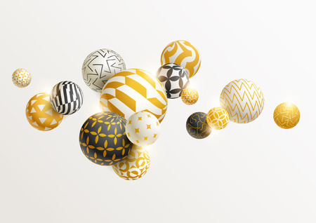 Illustration pour Golden decorative balls. - image libre de droit