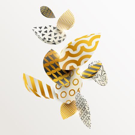 Illustration for Golden leaf in different patterns - Royalty Free Image