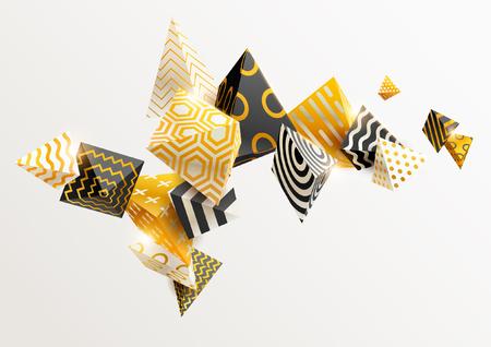 Illustration pour Gold and black 3D pyramids - image libre de droit