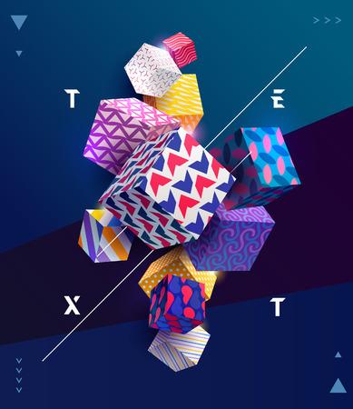 Illustration pour Poster template with 3D decorative cubes. - image libre de droit