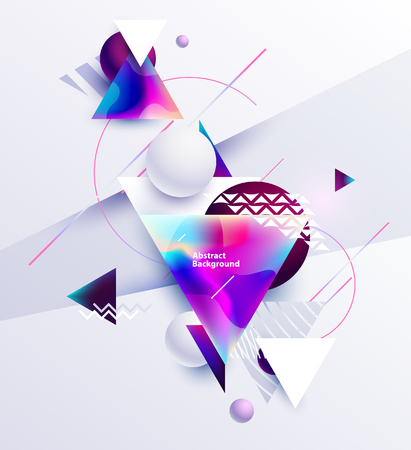 Illustration pour Abstract composition of multicolored triangles and balls on white background - image libre de droit