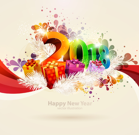 Illustration for New year 2018. Colorful poster. - Royalty Free Image