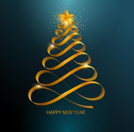 Illustration pour Stylized Christmas tree. Golden curved ribbon - image libre de droit