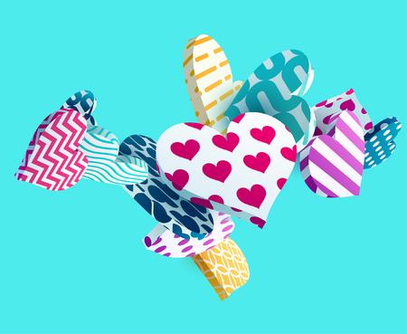 Illustration pour 3d colorful hearts. Abstract vector illustration - image libre de droit