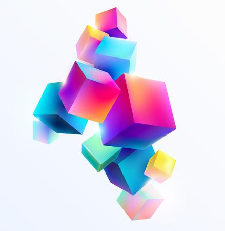 Ilustración de Abstract colorful composition with 3d cubes - Imagen libre de derechos