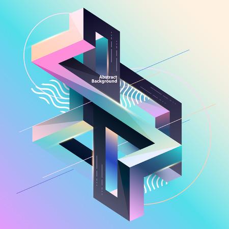 Illustration pour Abstract multicolor geometrical composition - image libre de droit