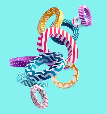 Illustration pour 3D decorative rings. Colorful design. - image libre de droit