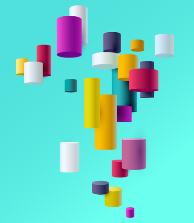 Illustration for Colored 3D cylinders - Royalty Free Image