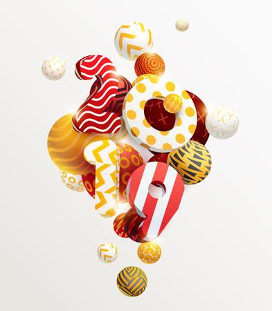 Illustration pour New year 2019. 3D figures and decorative balls - image libre de droit