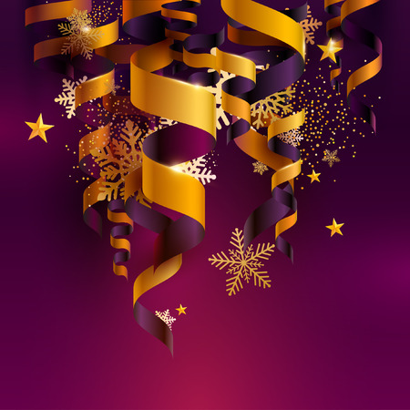 Illustration pour Golden ribbons on violet background with snowflakes and stars. Christmas illustration. - image libre de droit