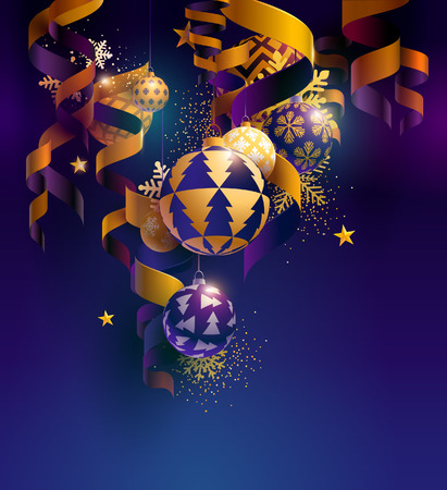 Illustration pour Christmas balls with ribbons, stars and snowflakes - image libre de droit