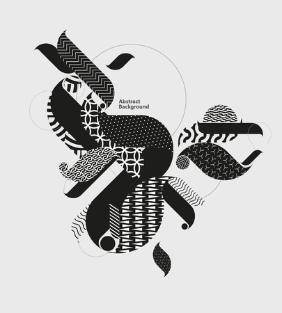 Illustration for Abstract decorative grunge composition. Graphic black and white background. - Royalty Free Image