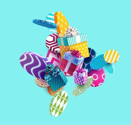 Ilustración de Christmas colorful gifts on bright abstract background - Imagen libre de derechos