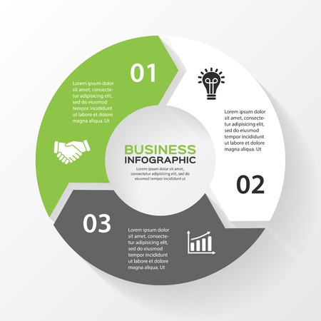 Illustration pour Vector circle arrows for infographic. Template for diagram, graph, presentation and chart. Business concept with 3 options, parts, steps or processes. Abstract background. - image libre de droit