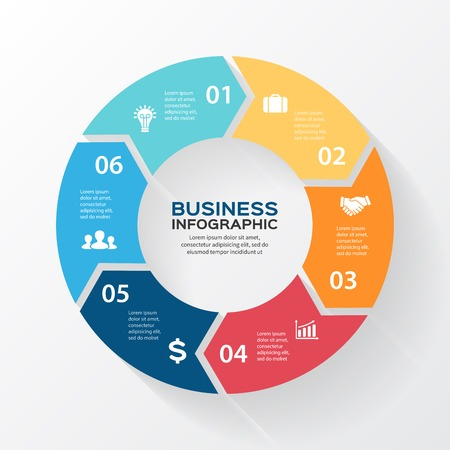 Illustration pour Vector circle arrows for infographic. Template for diagram, graph, presentation and chart. Business concept with 6 options, parts, steps or processes. Abstract background. - image libre de droit