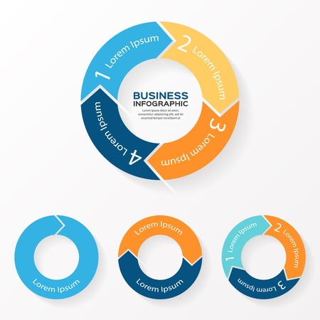 Illustration pour Vector circle arrows infographic. Template for diagram, graph, presentation and chart. Business concept with 1, 2, 3, 4 options, parts, steps or processes. Abstract background. - image libre de droit