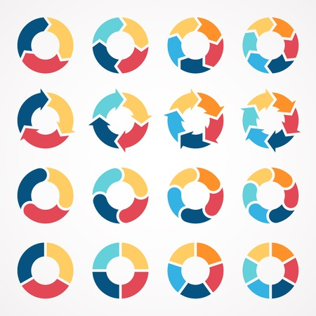 Ilustración de Vector circle arrows set for infographic. Template for diagram, graph, presentation and chart. Business concept with 3, 4, 5, 6 options, parts, steps or processes. Abstract background. - Imagen libre de derechos
