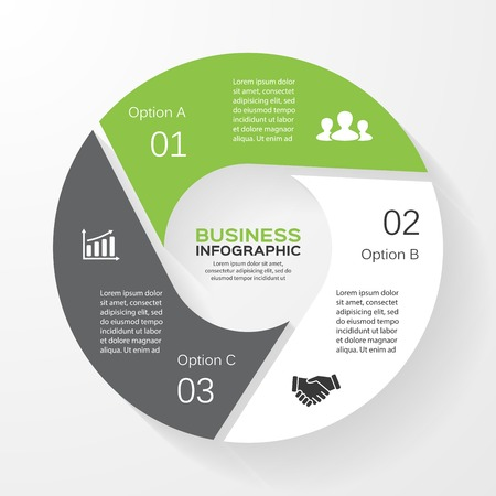 Illustration pour Vector circle infographic. Template for diagram, graph, presentation and chart. Business concept with 3 options, parts, steps or processes. Abstract background. - image libre de droit