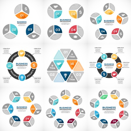 Illustration for Vector circle infographics set. Template for diagram, graph, presentation and chart. Business concept with 3, 4, 5, 6, 7, 8 options, parts, steps or processes. Abstract background. - Royalty Free Image