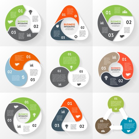 Ilustración de Vector circle triangle infographics set. Template for diagram, graph, presentation and chart. Business concept with 3 options, parts, steps or processes. Abstract background. - Imagen libre de derechos