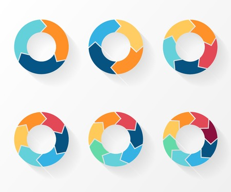 Ilustración de 3, 4, 5, 6, 7, 8 circle arrows for infographic, diagram, graph, presentation and chart. Business concept with options, parts, steps or processes. - Imagen libre de derechos