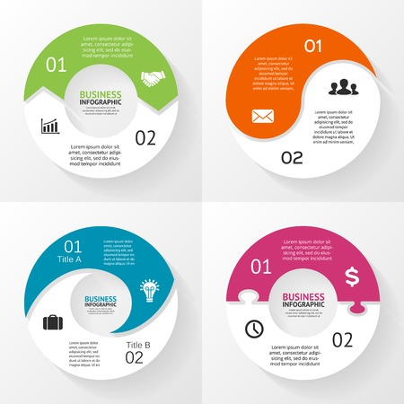 Illustration pour Vector circle infographics set. Template for diagram, graph, presentation and chart. Business concept with 2 options, parts, steps or processes. Abstract background. - image libre de droit