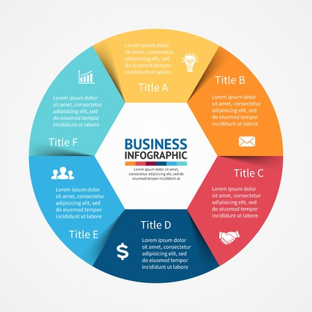 Illustration pour Vector circle infographic. Template for diagram, graph, presentation and chart. Business concept with 6 options, parts, steps or processes. Abstract background. - image libre de droit
