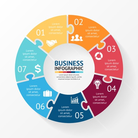 Ilustración de Vector circle puzzle infographic. Template for diagram, graph, presentation and chart. Business concept with 7 options, parts, steps or processes. Abstract background. - Imagen libre de derechos