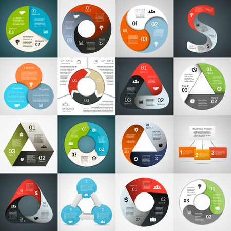 Ilustración de Vector circle triangle infographics set. Template for diagram, graph, presentation and chart. Business concept with 3 cyclic options, parts, steps or processes. Abstract background. - Imagen libre de derechos