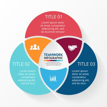 Illustration pour Vector social teamwork infographic. Template for circle diagram, graph, presentation and chart. Business concept with 3 options, parts, steps or processes. Abstract background. - image libre de droit